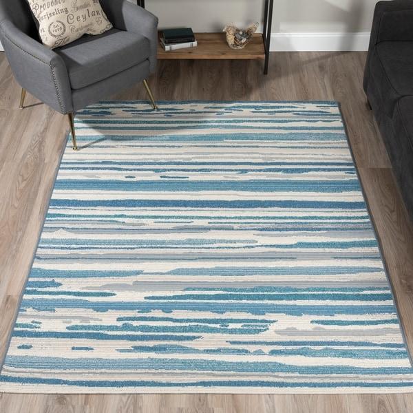 Addison Freeport Blue/ Grey Abstract Stripe Flat Weave Indoor/ Outdoor Area Rug (5'1 x 7')