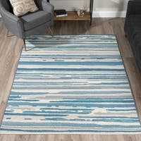 Addison Freeport Blue/ Grey Abstract Stripe Flat Weave Indoor/ Outdoor Area Rug (5'1 x 7')