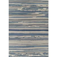 Addison Freeport Abstract Stripe Blue/ Grey Indoor/ Outdoor Area Rug - 8'2 x 10'