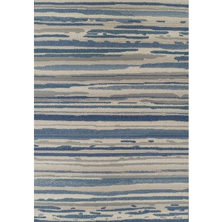 Addison Freeport Abstract Stripe Blue/ Grey Indoor/ Outdoor Area Rug