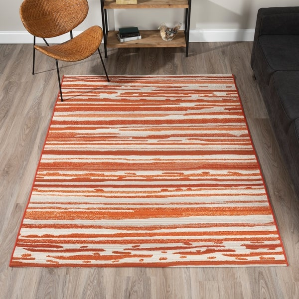 Addison Freeport Spice/Taupe Abstract Striped Indoor/Outdoor Area Rug