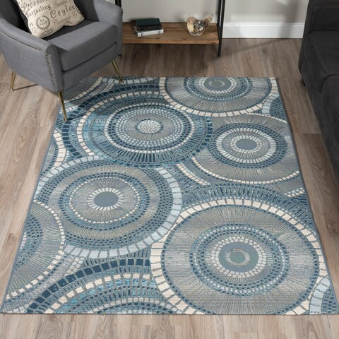 ADDISON Freeport Geometric Circular Blue/Gray Indoor-Outdoor Area Rug (2'X3')