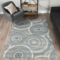 Addison Rugs Freeport Grey/Charcoal Geometric Circular Indoor/Outdoor Area Rug (5'1 x 7')