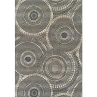 Addison Freeport Circular Gray/Charcoal Indoor/Outdoor Area Rug - 8'2 x 10'