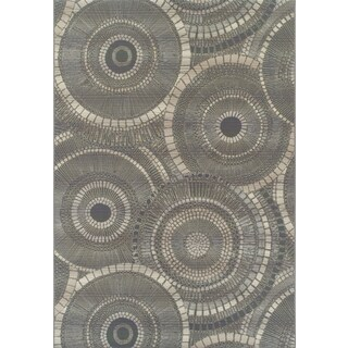 Addison Freeport Circular Gray/Charcoal Indoor/Outdoor Area Rug