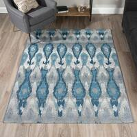 Addison Rugs Freeport Ikat Blue/Grey Indoor/Outdoor Area Rug (5'1 x 7')