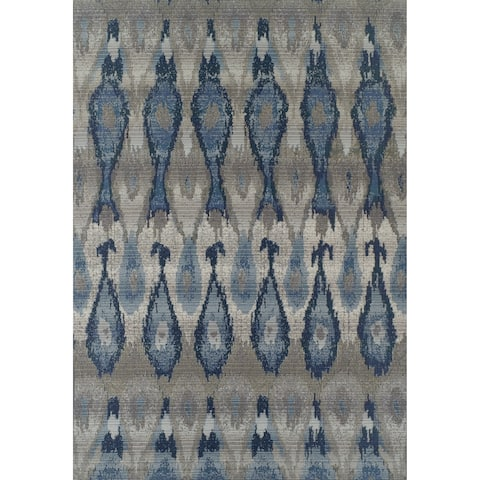 "Addison Rugs Freeport Collection Ikat Blue/Grey/Multicolored Indoor/Outdoor Rectangular Area Rug - 8'2""X10'"