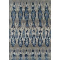 Addison Rugs Freeport Collection Ikat Blue/Grey/Multicolored Indoor/Outdoor Rectangular Area Rug