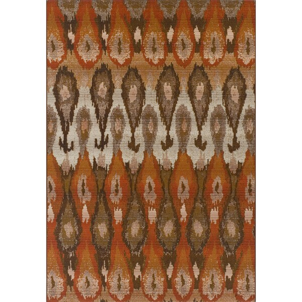 Addison Freeport Ikat Spice/Taupe Indoor-Outdoor Area Rug (5'1 x 7')