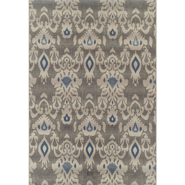 ADDISON Freeport Damask Gray/Blue Indoor-Outdoor Area Rug (2'X3')