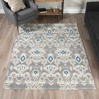 "ADDISON Freeport Damask Gray/Blue Indoor-Outdoor Area Rug (3'3""X5'1"")"