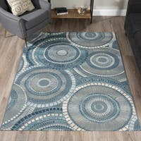 "ADDISON Freeport Geometric Circular Blue/Gray Indoor-Outdoor Area Rug (5'1""X7')"