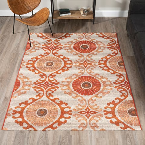 ADDISON Freeport Ikat Blue/Gray Indoor-Outdoor Area Rug (2'X3') - 2'X3'