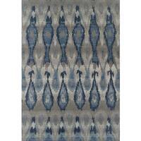 "ADDISON Freeport Ikat Blue/Gray Indoor-Outdoor Area Rug (3'3""X5'1"")"
