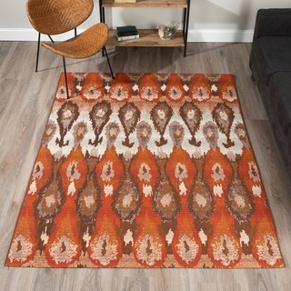 "ADDISON Freeport Ikat Spice/Taupe Indoor-Outdoor Area Rug (3'3""X5'1"")"