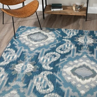 Addision Freeport Blue/Grey Medallion Flatweave Indoor/Outdoor Area Rug - 5'1 x 7'
