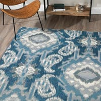 Addison Freeport Blue/Grey Medallion Indoor/Outdoor Area Rug - 8'2 x 10'