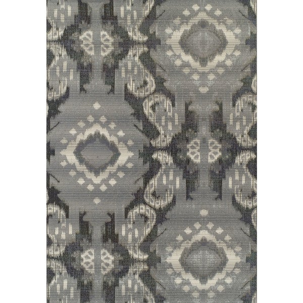 ADDISON Freeport Medallion Gray/Ivory Indoor-Outdoor Area Rug (2'X3')