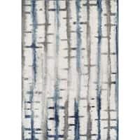 Addison Reston Blue/Multicolored Horizontal Stitch Area Rug (9'6 x 13'2)