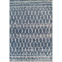 Addison Rugs Reston Blue/ Ivory Vintage Trellis Area Rug - 8' x 10'