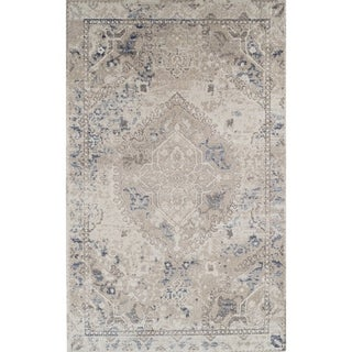 Addison Wellington Antique Medallion Beige/Brown Area Rug (5'3 x 7'7)
