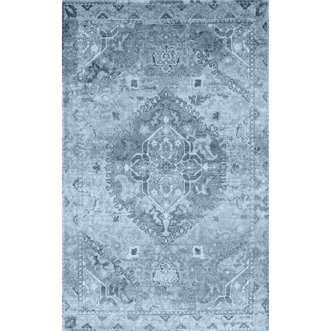 Addison Wellington Medallion Antique Blue/Ivory Area Rug (9'6 x 13'2)