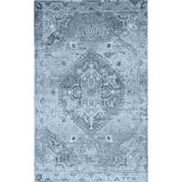 Addison Wellington Medallion Antique Blue/Ivory Area Rug - 9'6 x 13'2