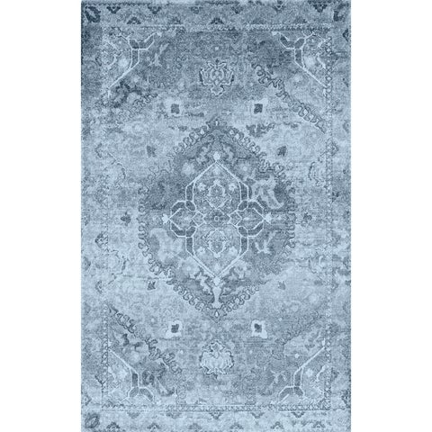 Addison Wellington Blue/Ivory Antique Medallion Area Rug (7'10 x 10'7)