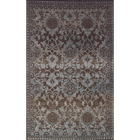 Addison Wellington Damask Brown/Blue Area Rug (9'6 x 13'2)