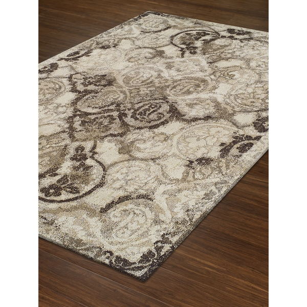 Persian Rugs Wellington: Shop Addison Wellington Brown/Ivory Distressed Damask Area