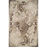 Addison Wellington Brown/Ivory Distressed Damask Area Rug - 7'10 x 10'7
