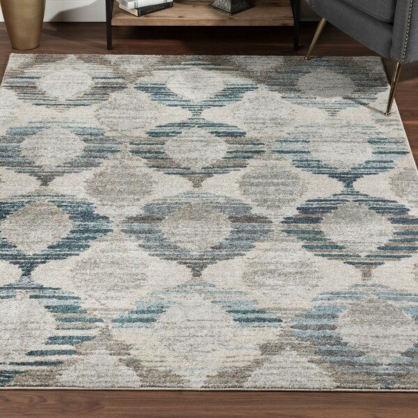 Addison Wellington Eroded Circles Brown/Blue Area Rug