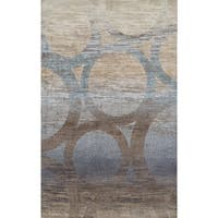 Addison Wellington Eroded Circles Brown/Blue Area Rug - 5'3 x 7'7