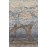 Addison Wellington Eroded Circles Brown/Blue Area Rug (9'6 x 13'2)