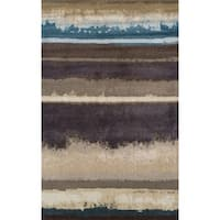 Addison Rugs Wellington Landscape Brown and Blue Horizontal Area Rug (5'3 x 7'7)