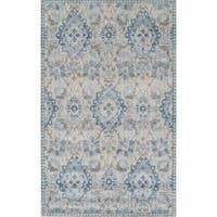 Addison Wellington Palace Blue/Ivory Area Rug (5' 3 x 7' 7)