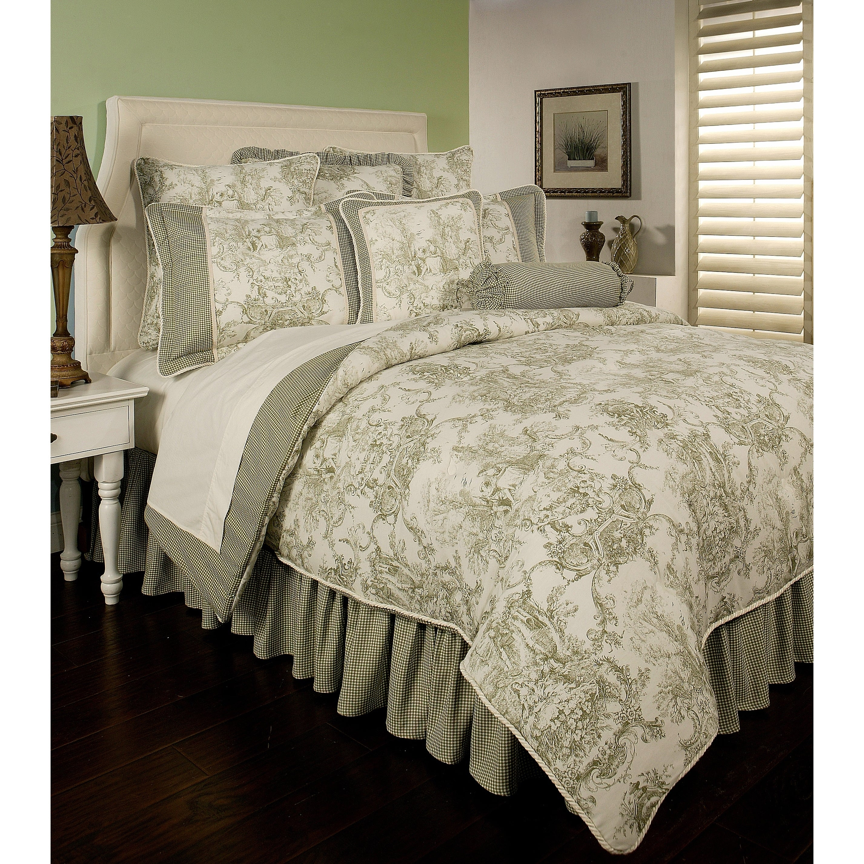 Pchf Country Toile Sage 6 Piece Comforter Set Overstock 18536922 Queen