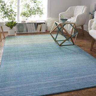 Carson Carrington Bromma Blue/ Grey Modern Ombre Stripe Area Rug