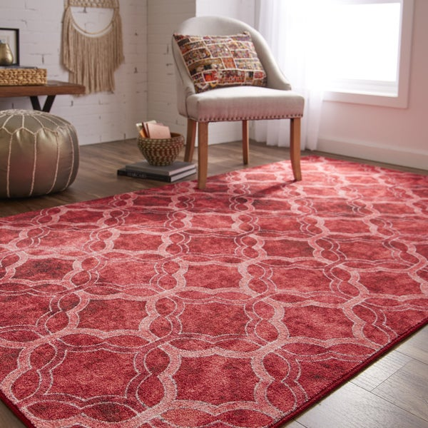Gracewood Hollow Saba Quatrefoil Fret Red and Purple Lattice Area ...