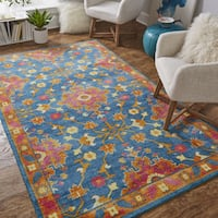 Copper Grove Sanjay Blue and Red Traditional Floral Area Rug - 8' x 10'
