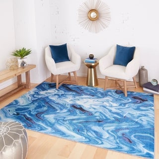 Prismatic Collection Wavelength Nature Blue/ Cream Modern Abstract Indoor Area Rug (8' x 10') - 8' x 10' (8' x 10' - Blue/Cream)