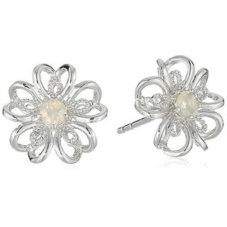 Sterling Silver Ethiopian Opal flower Stud Earrings - White