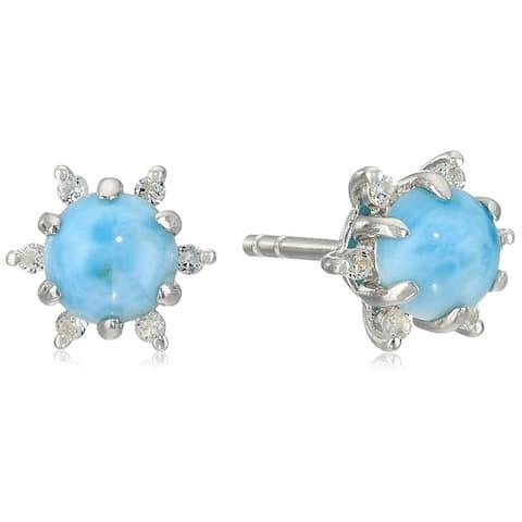 Pinctore Sterling Silver Larimar Halo Stud Earrings - Blue