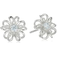 Pinctore Sterling Silver Aquamarine flower Stud Earrings - Blue