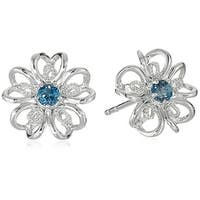 Sterling Silver London Blue Topaz flower Stud Earrings