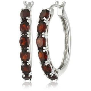 Link to Sterling Silver Red Garnet Oval Hoop Earrings Similar Items in Earrings