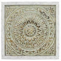 Stratton Home Decor Green Goldtone Metal Medallion Wall Decor with Distressed White Wood Frame