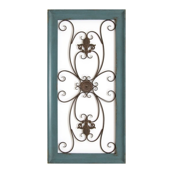 Stratton Scroll Panel Wall Decor Teal// White Metal// Wood Indoor Home Room Decor