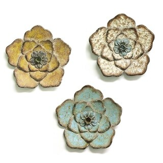 Stratton Home Decor Hand Crafted Set of 3 Rustic Flower Wall Decor