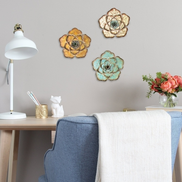 Stratton Home Decor Wood /& Metal Hand Painted Flower Wall Set Yellow Teal White